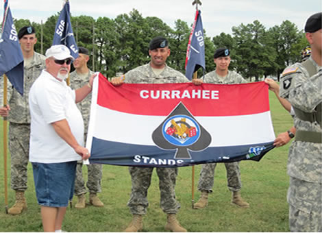 Currahee Flag presented to Charlie Co. on their depolyment.